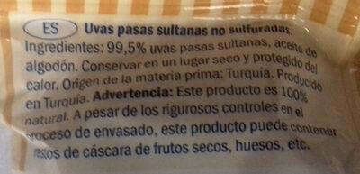 Raisins secs - Ingredientes - es