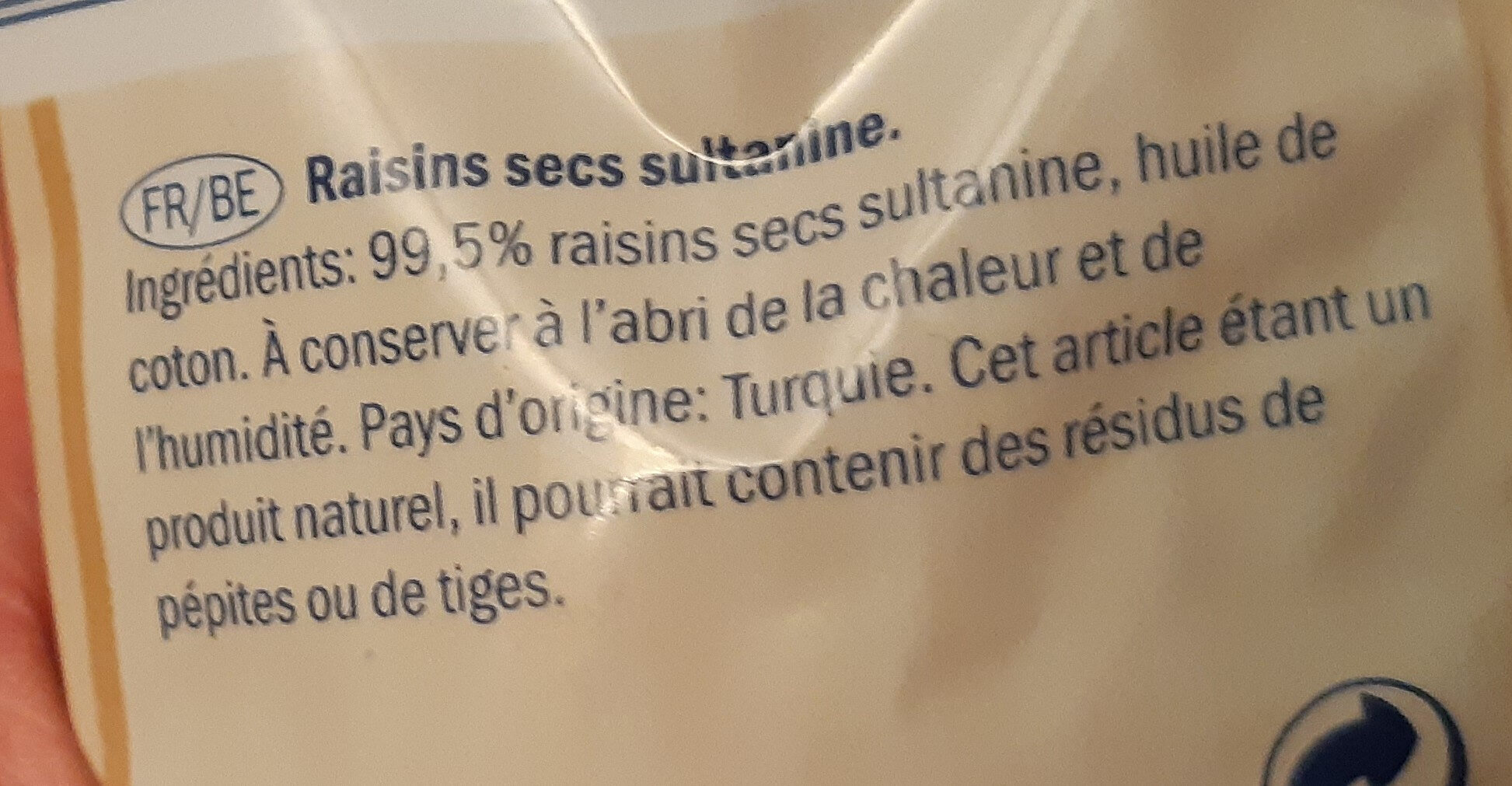 Raisins secs - Ingredients - fr