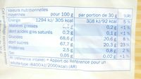 Raisins secs - Nutrition facts - fr