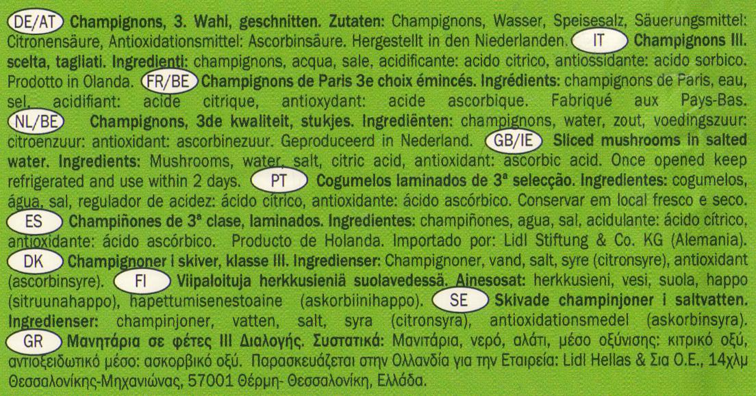 Champignons III. Wahl - Ingrediënten