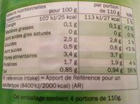 Haricots verts extra fins - Información nutricional - fr