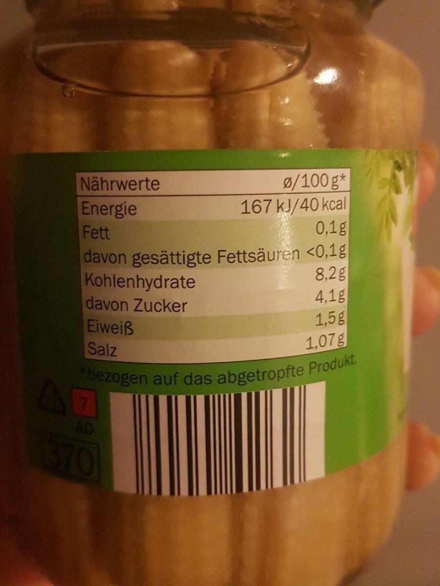 Maiskölbchen - Nährwertangaben