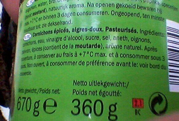 Pepinillos agridulces - Ingrédients