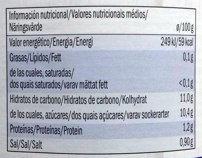 Col lombarda Alpen Fest - Información nutricional