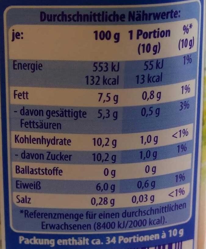 Sherry Medium Dry - Valori nutrizionali - de