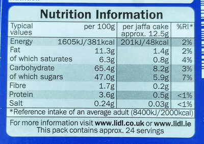 Jaffa Cakes Orange - Nutrition facts - en