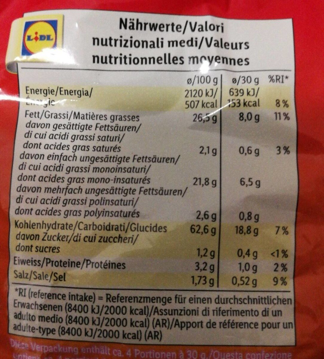 Teddy original (Snack day) - Informations nutritionnelles - fr
