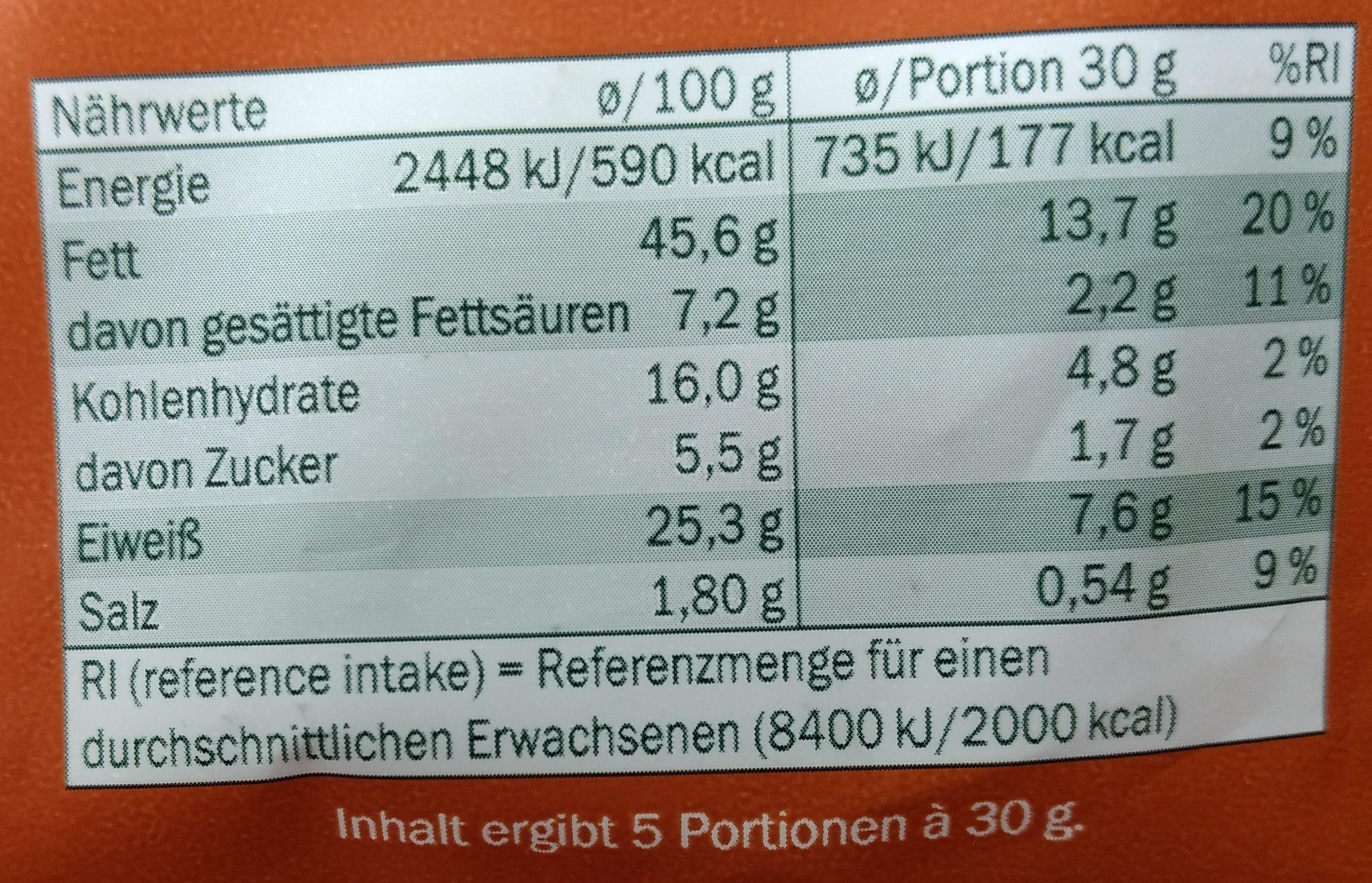 Arachides grillées à sec - Nährwertangaben - de