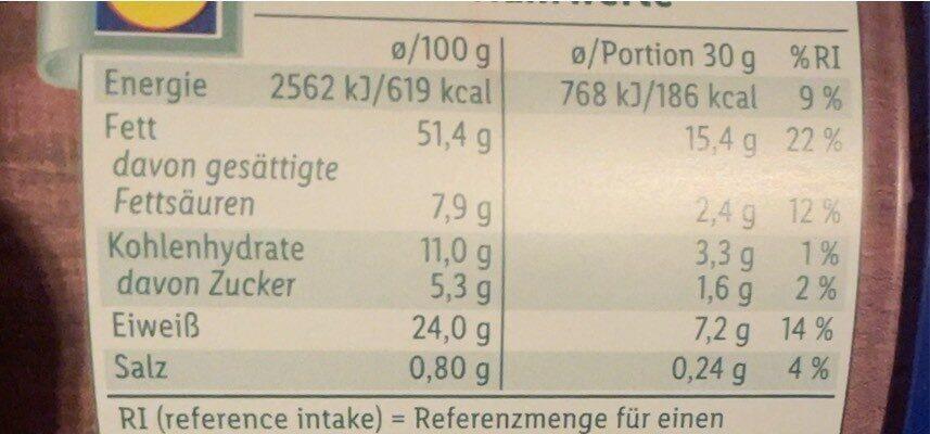 Erdnüsse, geröstet & gesalzen - Nutrition facts - de