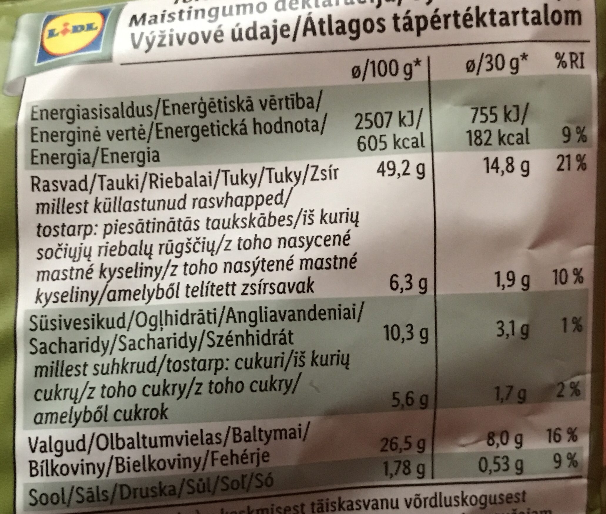 Pistáciové oříšky - Informação nutricional - cs
