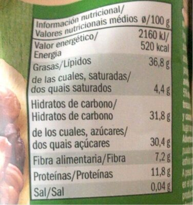 Mix frutos secos & pasas  Studentenfutter - Nutrition facts - de