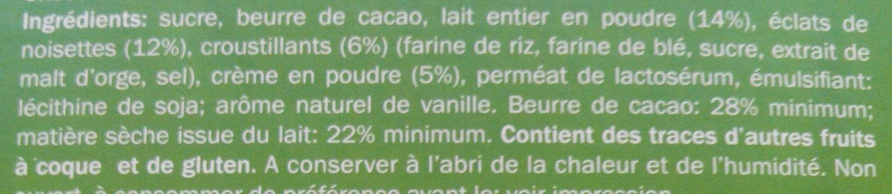 Blanc Noisettes & Céréales croustillantes - Ingrédients - fr