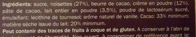 Chocolat Lait Noisettes entières - Ingrediënten - fr
