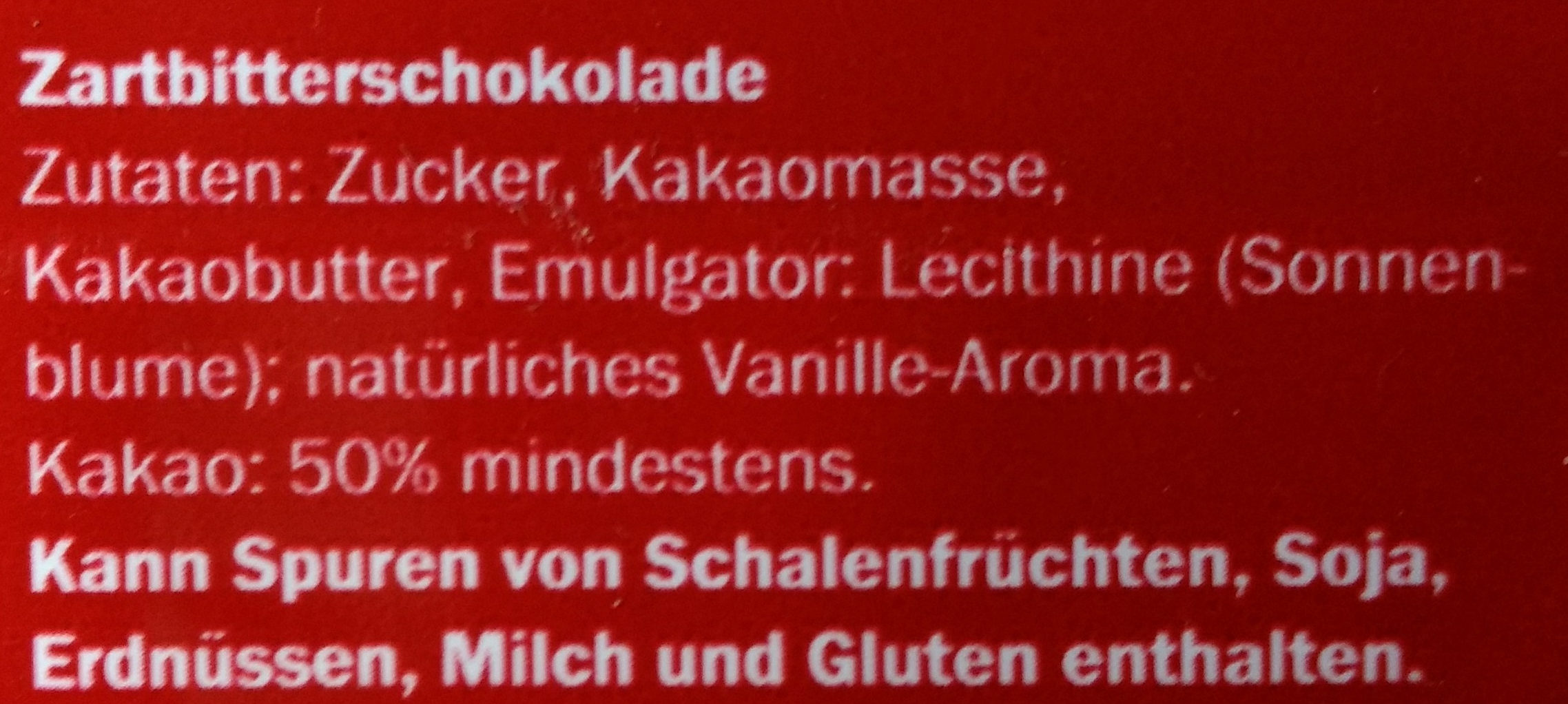 Dark chocolate - Inhaltsstoffe - de