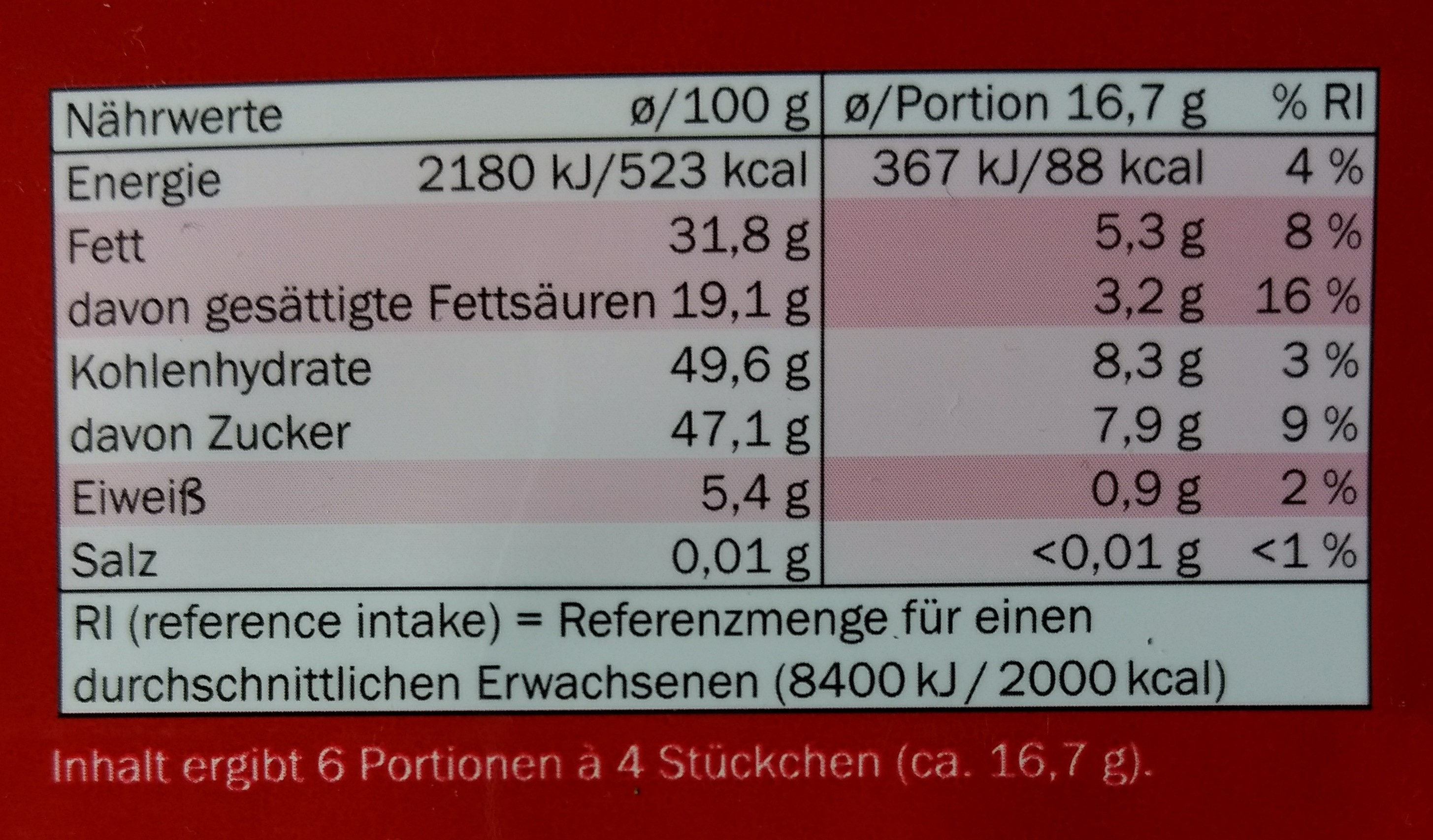 Zartbitter - Informations nutritionnelles