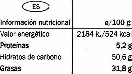 Dark chocolate 50% cocoa - Información nutricional