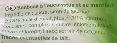 Eucalyptus-Menthol Bonbons - Ingredients - fr