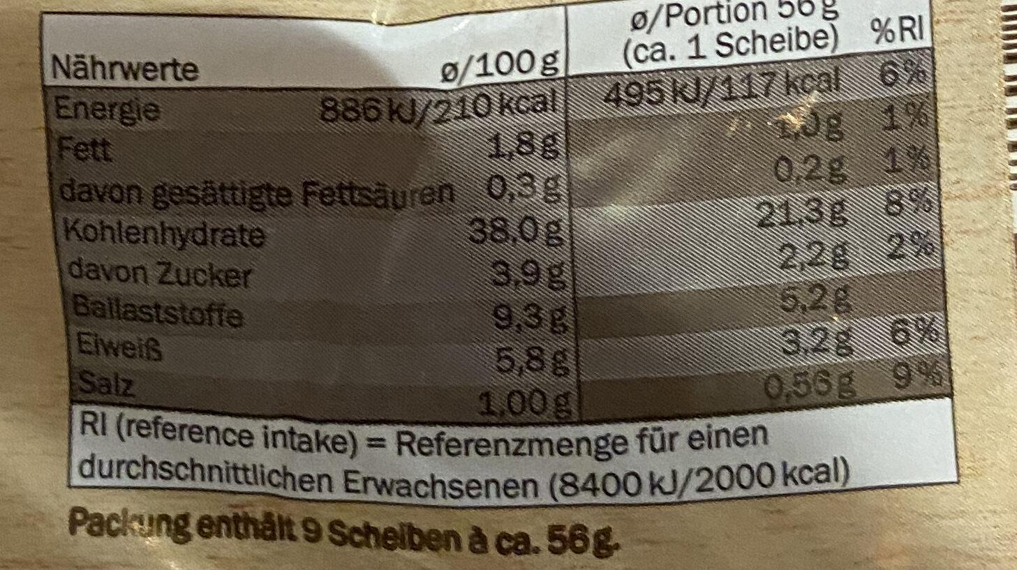 Roggenvollkornbrot - Nährwertangaben - de
