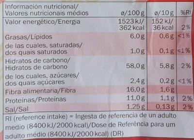 Tostas integrales de centeno - Información nutricional - es