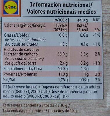 Tostas integrales de centeno - Informations nutritionnelles - es