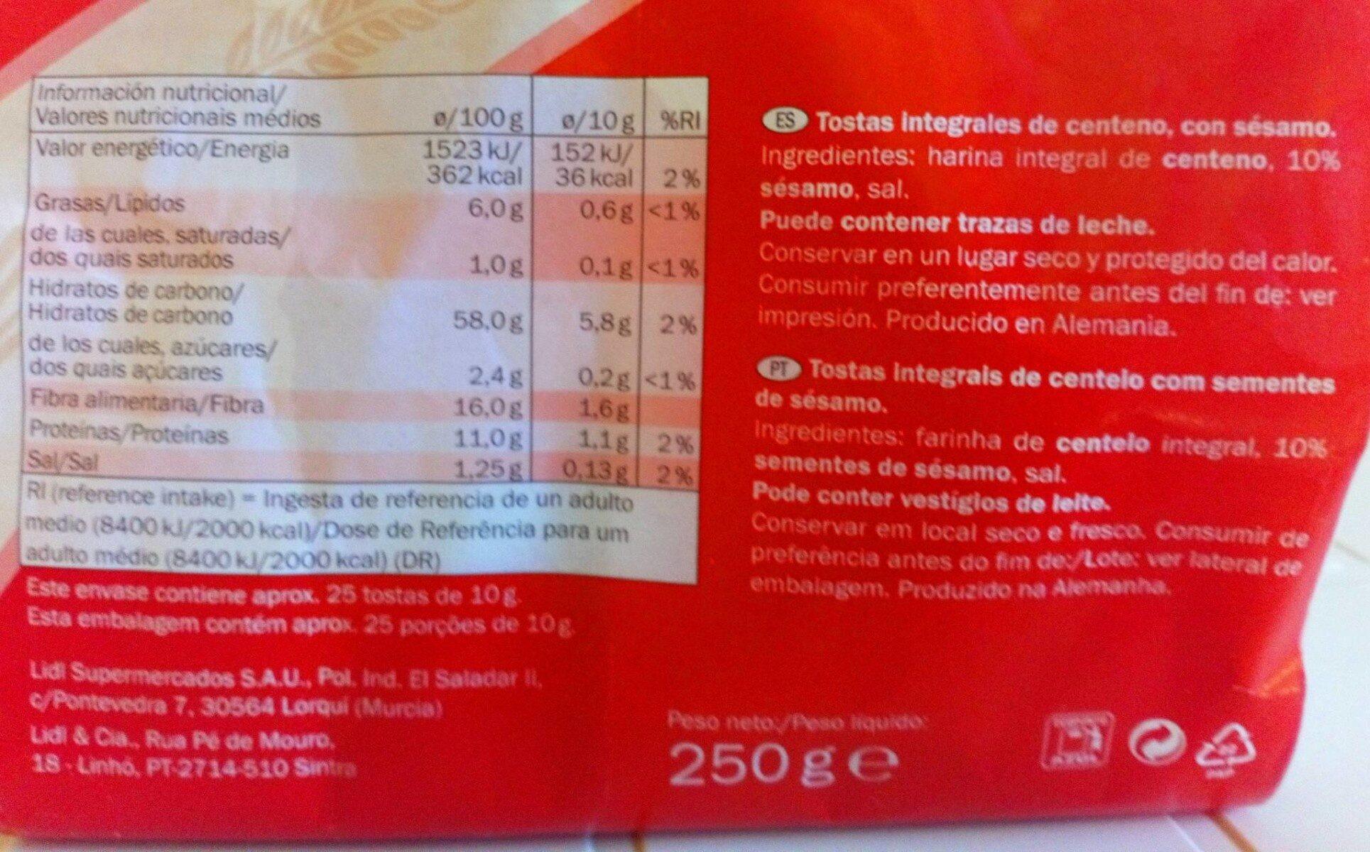 Tostas integrales de centeno con sesamo - Informations nutritionnelles