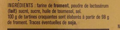 Tartine craquantes - Ingredients - fr