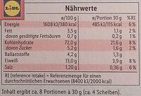 Tartines craquantes - Nährwertangaben - de