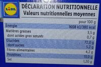 Tartines craquantes - Nutrition facts - fr