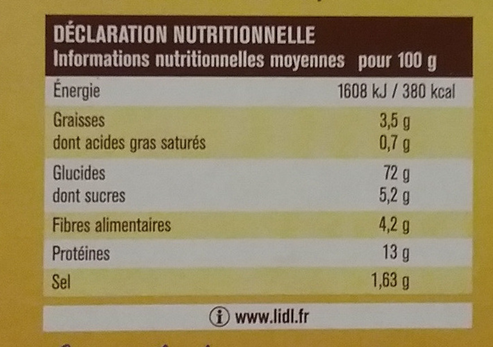 Tartine craquante froment - Informations nutritionnelles