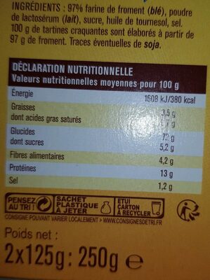 Tartine craquante froment - Informations nutritionnelles - fr