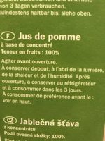 Apfelsaft aus Apfelsaftkonzentrat - Ingrédients - fr