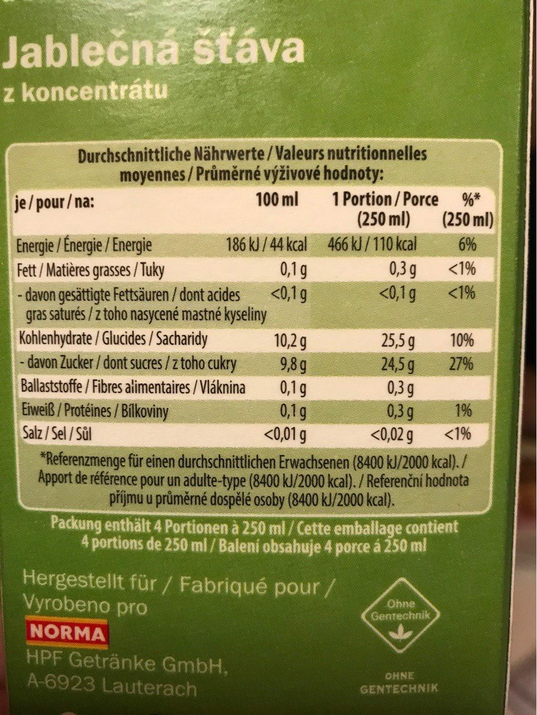 Apfelsaft aus Apfelsaftkonzentrat - Informations nutritionnelles - fr
