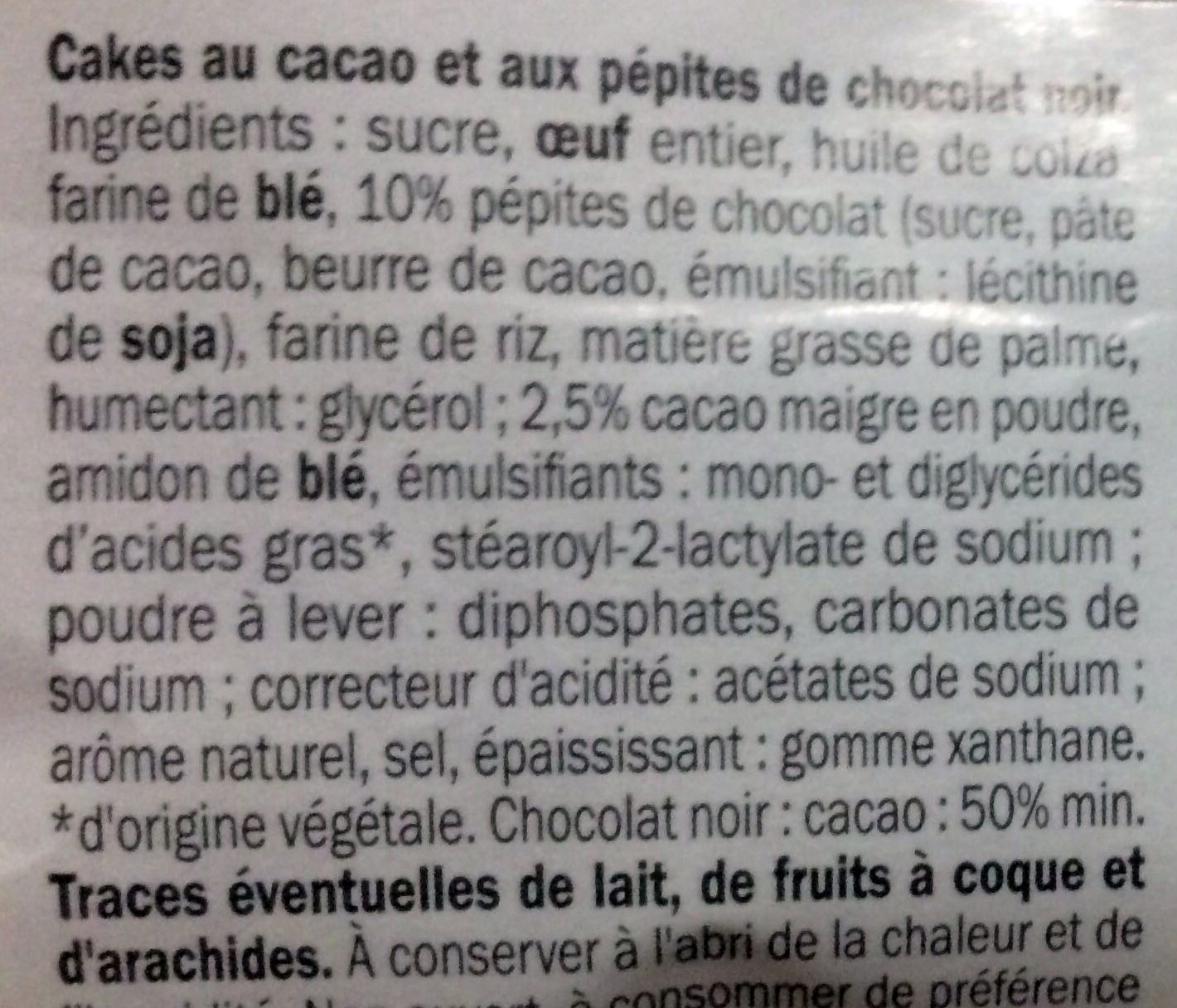 Muffins Double Choc - Ingrédients - fr