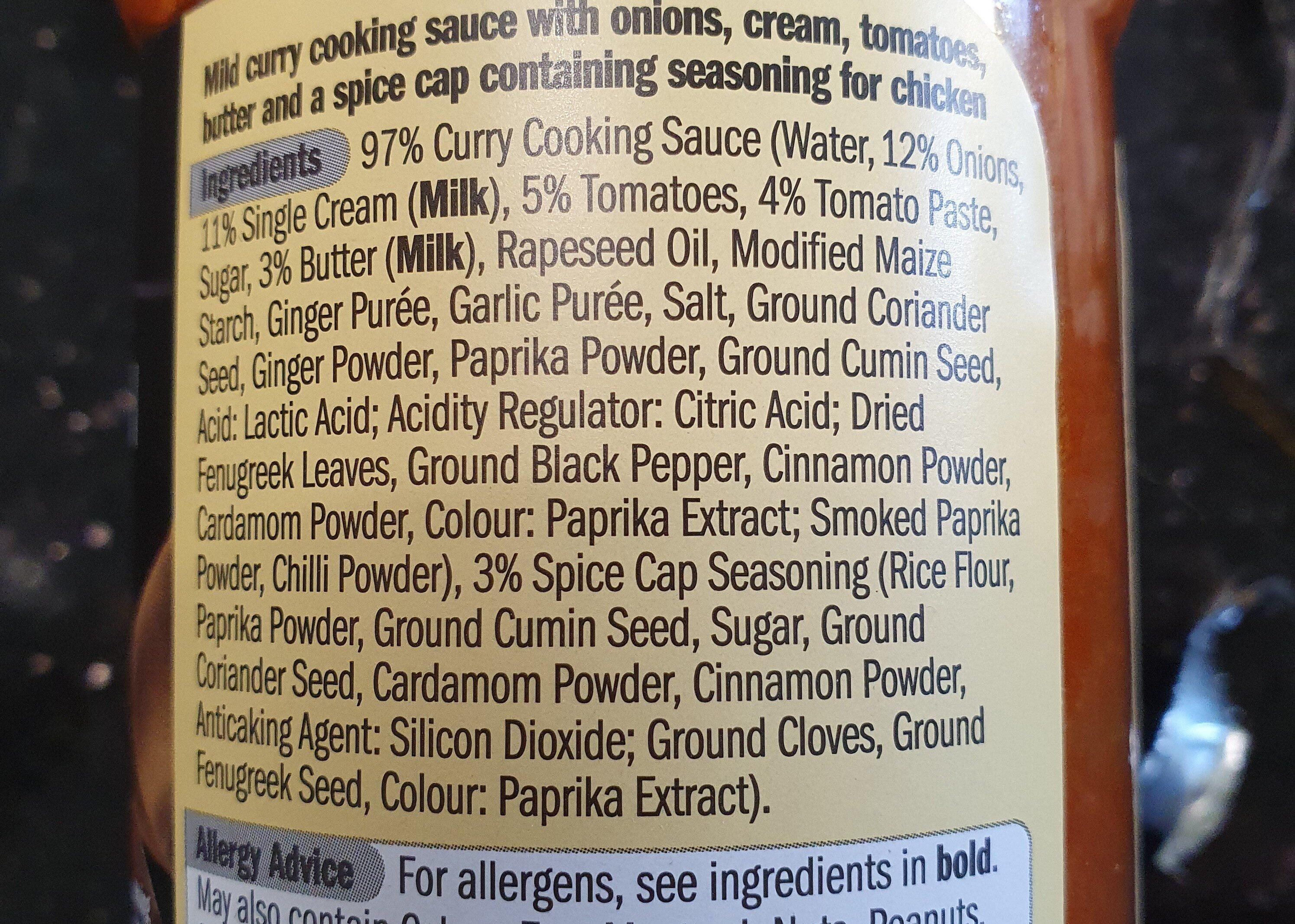 butter chicken cooking sauce - Ingredients - en