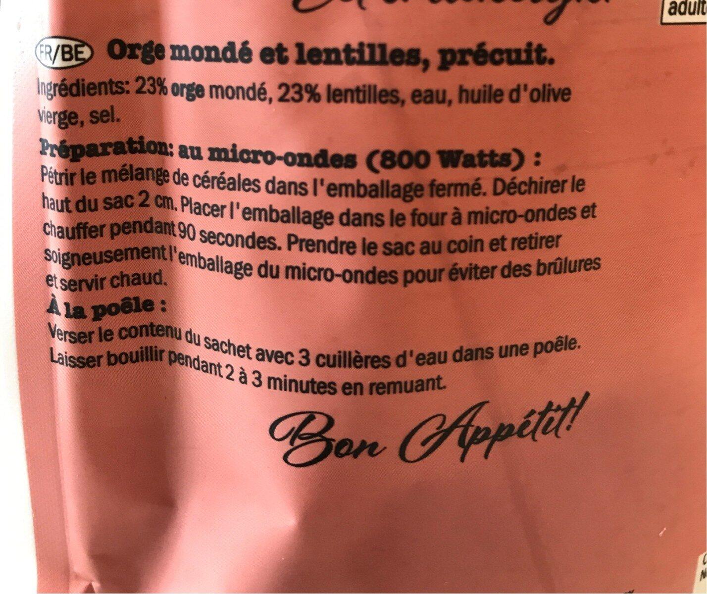 Orge mondé et lentilles - Ingredienti - fr