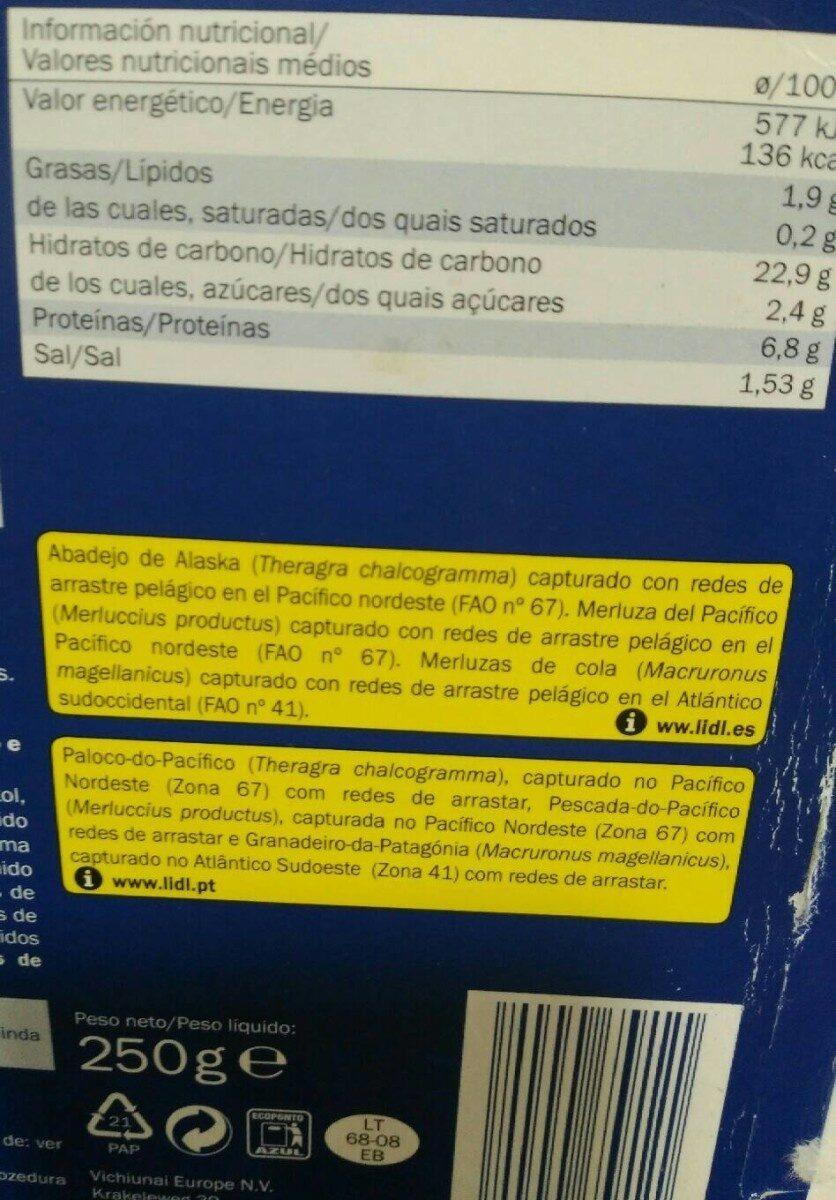 Muslitos de mar - Información nutricional