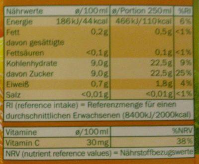Jus d'orange à base de concentré - Nährwertangaben