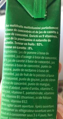 Jus Multivitaminé - Ingrédients - fr