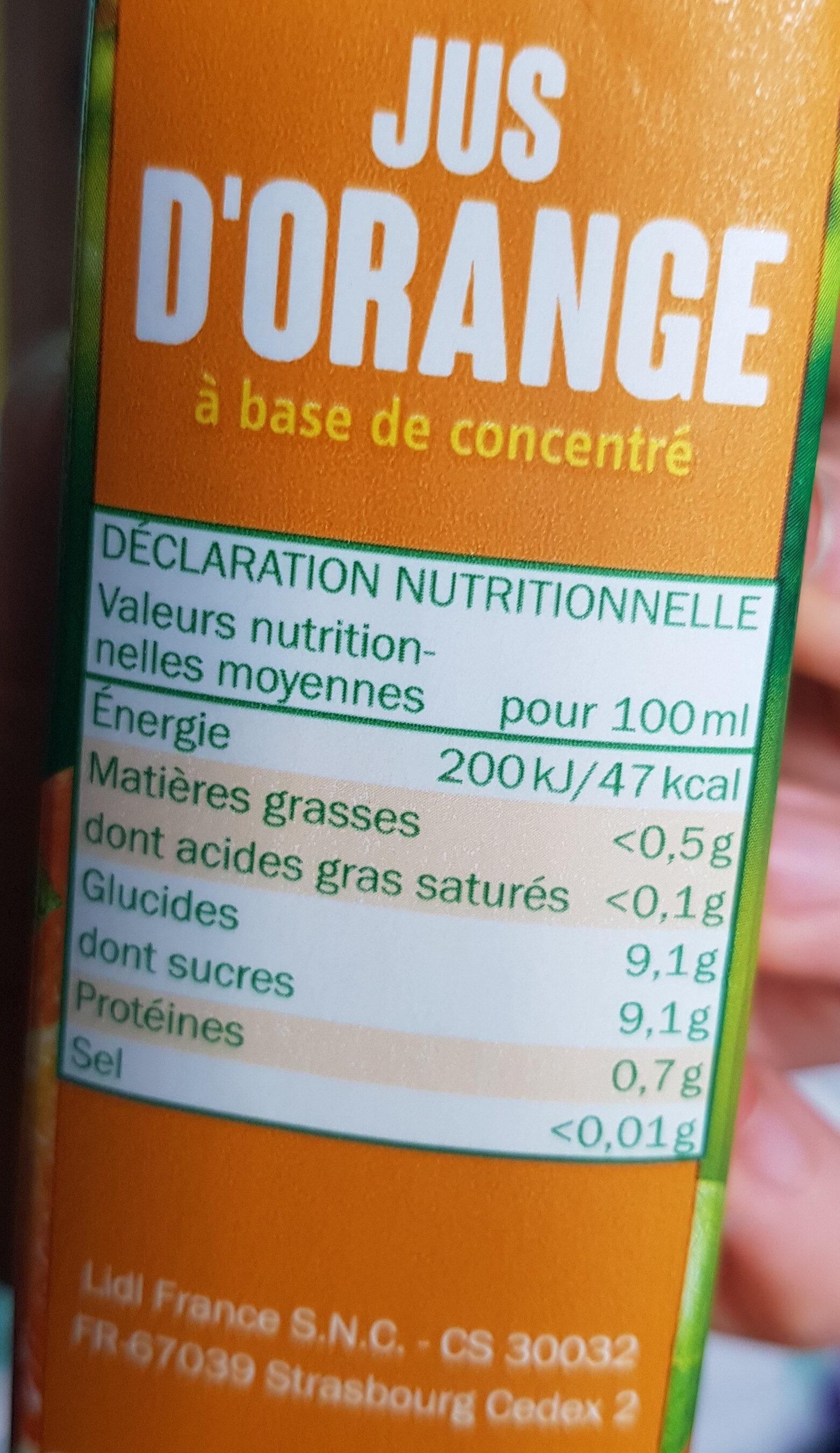 Orange Juice - Informations nutritionnelles - fr