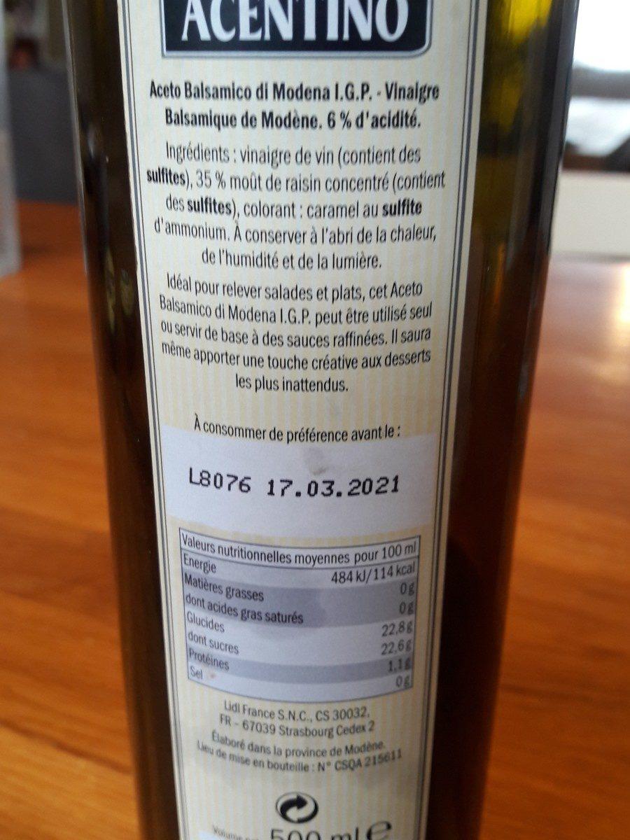 Vinagre Balsámico di Modena I. G. P. - Ingredients - fr