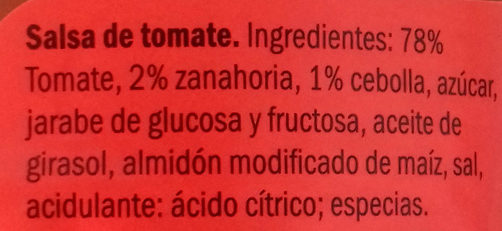 Salsa de tomate estilo casero - Ingrédients