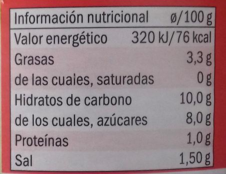 Salsa de tomate estilo casero - Informations nutritionnelles