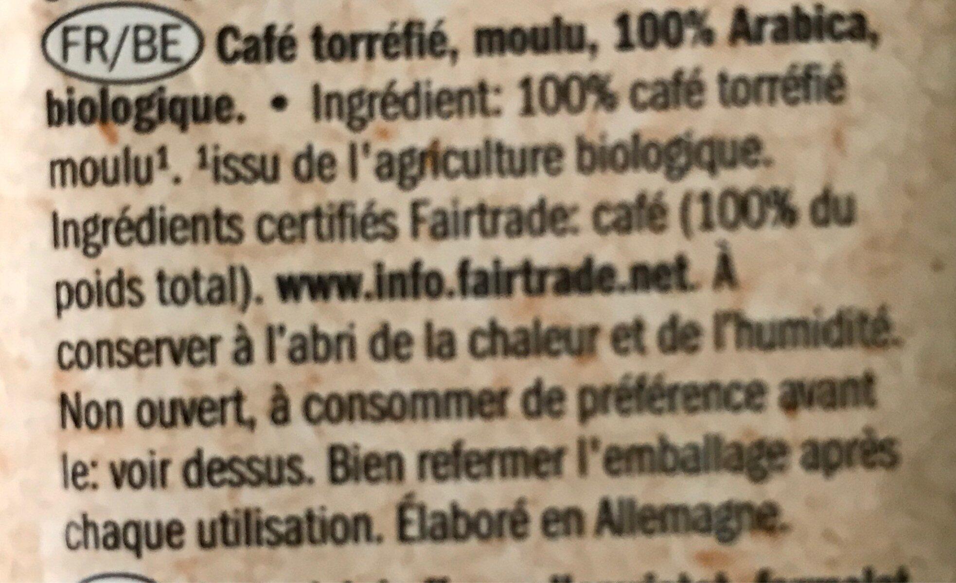 Bio café del mundo - Ingredients