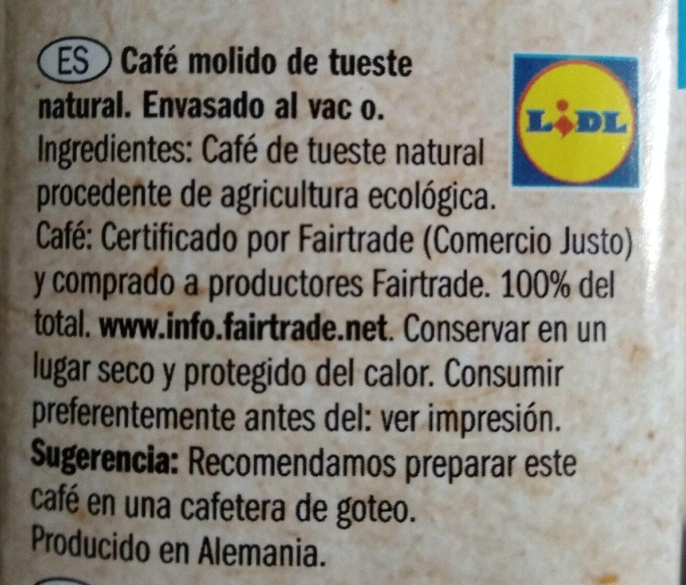 Bio café del mundo - Nutrition facts