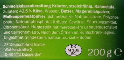 Milbona Schmelzkäsezubereitung - Ingrédients - fr