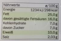 Milbona Schmelzkäsezubereitung - Informations nutritionnelles - fr