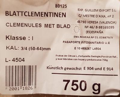 Blattclementinen Kl. 1 Kal. 50-64 mm - Inhaltsstoffe
