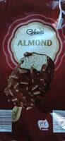 Almond, Lody o smaku waniliowym 66% polane czekoladą mleczną 28% z kawałkami migdałów 6%. - Produkt - pl
