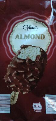 Almond, Lody o smaku waniliowym 66% polane czekoladą mleczną 28% z kawałkami migdałów 6%. - Produkt