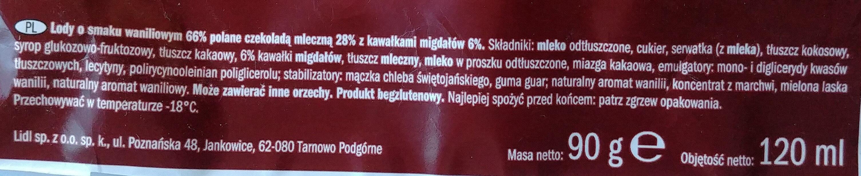 Almond, Lody o smaku waniliowym 66% polane czekoladą mleczną 28% z kawałkami migdałów 6%. - Składniki - pl